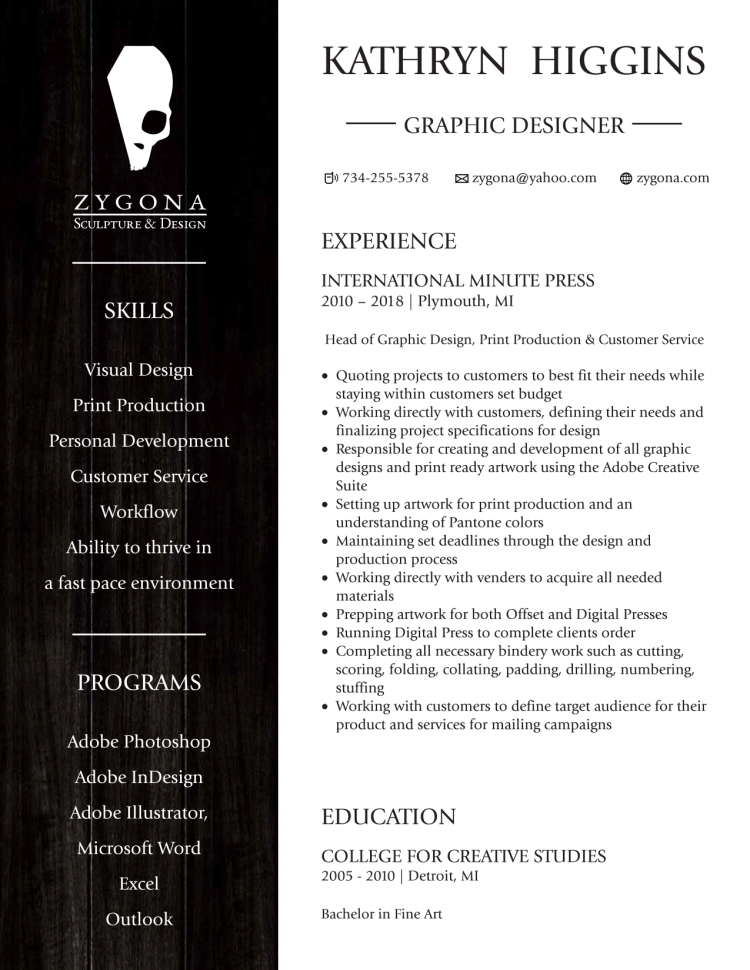 Kathryn Higgins Graphic Design Resume